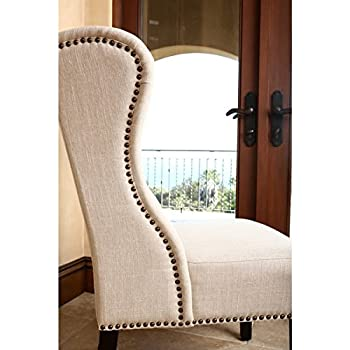 "ABBYSON LIVING Sierra Tufted Cream Linen Wingback Dining Chair (40.5"" high x 27"" wide x 29"" deep)"
