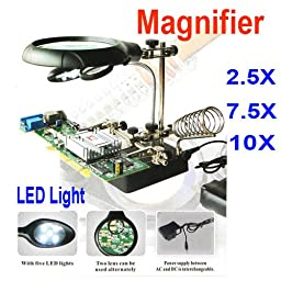 Constructan(TM) LED Light Magnifier 2.5X 7.5X 10X Helping Hand Auxiliary Clamp Alligator Clip Stand