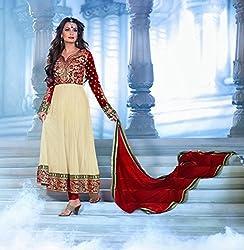 Flamboyant Off White & Red Salwar Kameez