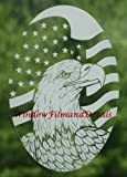 Oval Flag & Eagle Vertical Etched Window Decal Vinyl Glass Cling - 15