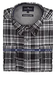 Brushed Pure Cotton Herringbone Checked Shirt [T25-9445B-S]