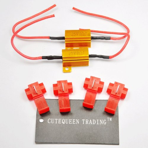 Cutequeen Trading 4Pcs 25W 8Ohm Led Load Resistors For Led Turn Signal Lights Or Led License Plate Lights Or Drl (Fix Hyper Flash, Warning Cancellor) With 8Pc Quick Wire Clip