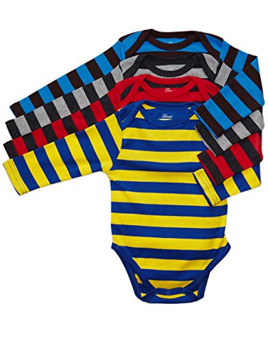Leveret Long Sleeve 4-pack Striped Baby Boys Bodysuit 100% Cotton (Size 0-24) (12-18 Months, Multi 2)