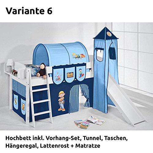 Hochbett Spielbett IDA Bob der Baumeister, mit Turm, Rutsche und Vorhang, weiß, Variante 6 online bestellen