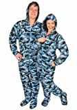 Blue Camouflage Fleece Hooded Footed Pajamas with Drop Seat