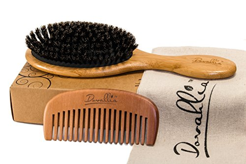 Boar Bristle Hair Brush Set for Women and Men - Designed for Thin and Normal Hair - Adds Shine and Improves Hair Texture - Wood Comb and Gift Bag Included (black) (Boar Hair Brush Women compare prices)
