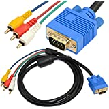 5ft 1.5M VGA Male Plug 15 pin to 3 RCA Audio AV Cable Adapter for HDTV PC DVD