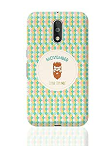 PosterGuy Moto G4 Plus Covers & Cases - Movember - Grow Your Mo! with Light Brown Hipster | Designed by: Codeburnerz Technologies