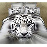 FADFAY Home Textile,3D Tiger Bedding Sets,Wolf Bedding Sets,Mens Bedding Set,Queen,4Pcs
