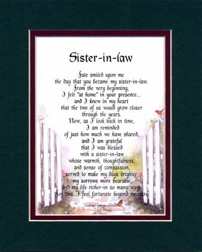 """Sister-in-law"" Touching 8x10 Poem, Double-matted in Dark Green/Burgundy And Enhanced With Watercolor Graphics."