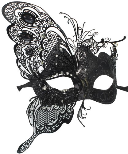 RedSkyTrader Womens Dragon Metal Mask One Size Fits Most Black