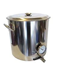 32 QT Stainless Steel Kettle with Valve &amp; Thermometer by Home Brew Stuff
