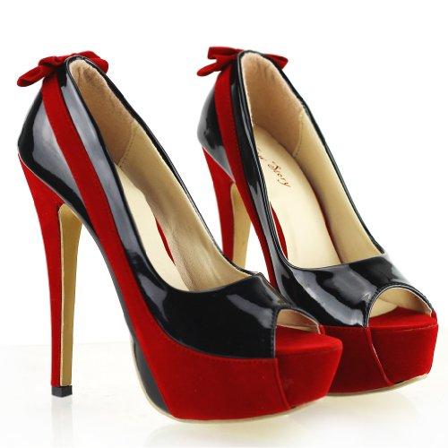 04. Show Story Sexy Two Tone Peeptoe Bow Stiletto Platform High Heels Pumps, LF40501