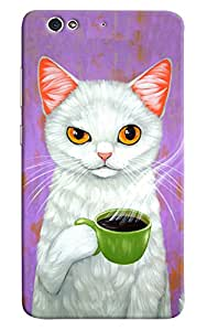 Omnam Cat Drinking Tea Printed Designer Back Cover Case For Gionee S6