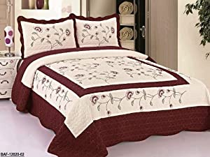 3pc Beige / Burgundy High Quality Fully Quilted Embroidery Bedspread Bed Coverlets Cover Set , Queen King
