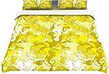 "Kess InHouse Anneline Sophia ""Marbleized In Gold"" Yellow Twin Cotton Duvet, 68 by 88-Inch"