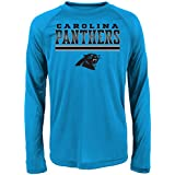 NFL Carolina Panthers Boys Performance Long Sleeve Teeperformance Long Sleeve Tee, Process Blue, X-Large (18)