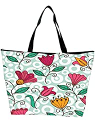 Snoogg Seamless Texture With Flowers And Butterflies Endless Floral Pattern Waterproof Bag Made Of High Strength... - B01I1KGWMK