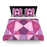 "Kess InHouse 88 by 104"" Empire Ruhl Purple Angles Woven Duvet Cover, King, Pink Geometric"