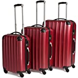 TecTake Suitcase Trolley Set of 3 Super Lightweight Rolling mix-hard shell Suitcases Travel bags luggage wine red