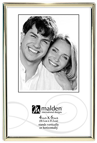 "Malden International Designs Simplicity Bright Metal Picture Frames to Hold 4 by 6"" Photo, 4 x 6"", Brass - 1"