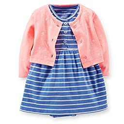 Carter\'s 2 Piece Striped Dress Set (Baby) - Blue-9 Months