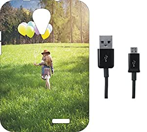 BKDT Marketing Printed Soft Back Cover Combo for Intex Aqua Y4 With Charging Cable