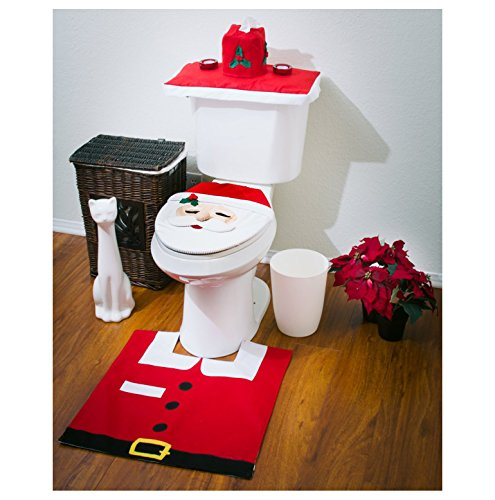3 Pcs Santa Claus Toilet Tank Lid Cover + Floor Mats Plus + Tissue Box Cover Set Christmas Decorations (Red)