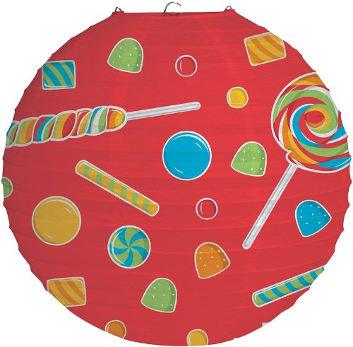 Creative Converting Sugar Buzz Round Paper Lantern Hanging Decoration, Candy Print, 12""