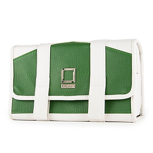 lencca-stowaway-eco-leather-compact-traveling-essentials-carry-pack-bag-gem-cream-green-by-lencca