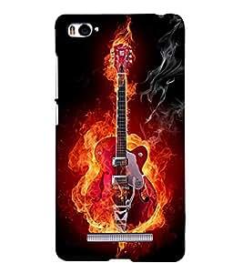 Fuson Premium Back Case Cover Fire Guitar With Green Background Degined For Xiaomi Redmi Mi4i::Xiaomi Mi 4i