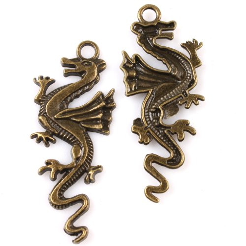 20x Charms Dragon Antique Bronze Alloy Charms Findings Fit Handmade