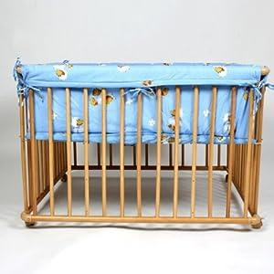 Wooden playpen 100x75 cm blue insert incl. by Serina