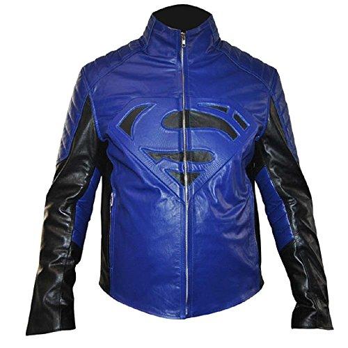 Classyak Men's Fashion-Giacca in pelle, colore: blu Faux Blue XXXXX-Large