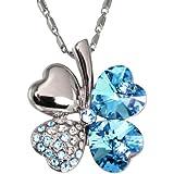 Four Leaf Clover Heart Shaped Swarovski Elements Crystal Rhodium Plated Pendant Necklace