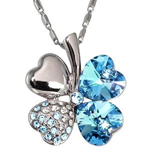 Four Leaf Clover Heart Shaped Swarovski Elements Crystal Pendant Necklace - Blue
