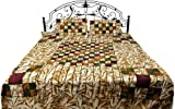 Exotic India Brown Batik Bedspread with Printed Checks - Pure Cotton Canvas with Pillow Covers
