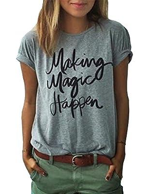 Haola Women's Summer Street Printed Tops Funny Juniors T Shirt Short Sleeve Tees