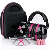 TRADESMART Pink Ear Muffs, Earplugs, Gun Safety Glasses & Protective Case - UV400 Anti Fog & Anti Scratch with Microfiber Pouch   Gun Range Ear Protection & Eye Protection for Shooting (Color: Hot Pink)