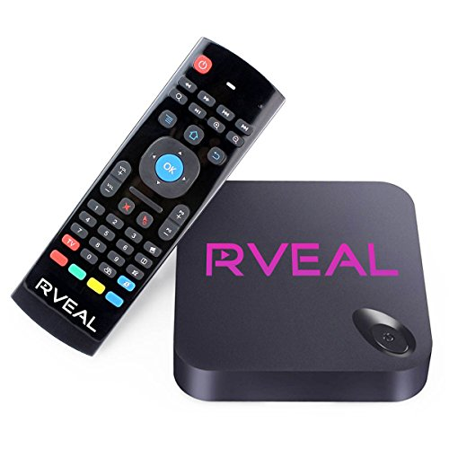 Rveal Streaming Media Player & Android Smart TV Box with Upgraded Rveal Air Mouse Remote & Keyboard (Free Tv Box compare prices)