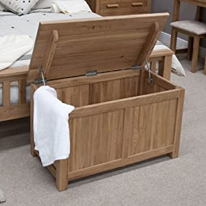 Eton solid oak bedroom furniture blanket storage box chest for Bedroom furniture amazon