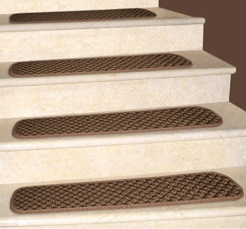 12 Attachable Carpet Stair Treads - Pecan Brown - 8 In. X 30 In. - Several Other Sizes to Choose From