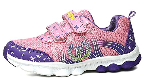 Femizee Girls Fashion Outdoor Athletic Walking Sneakers Junior School Shoes(Toddler/Little Kid/Big Kid),Pink Purple 10 M US Toddler