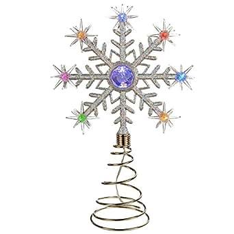 gro e weihnachtsbaumspitze stern dekoration mit farb nderung und led leuchten schneeflocke. Black Bedroom Furniture Sets. Home Design Ideas