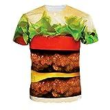 ファッションカップルのおいしい王Tシャツハンバーガールーズシャツ