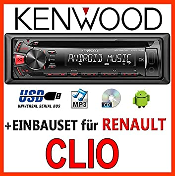 Renault clio 3 kenwood-kDC - 164 uR autoradio cD/mP3/uSB avec kit de montage