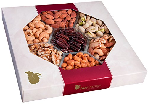 Nut Cravings Gourmet Nut Large Gift Tray with Striking Presentation - 7-Section Holiday or Anytime Assorted Nuts Gift Basket (Extract Tray compare prices)