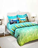 Tangerine Indie Tadka Mumbai 210 TC Cotton Double Bedsheet with 4 Pillow Covers - King Size, Multicolour