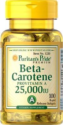 Puritan's Pride Beta-Carotene 25,000 IU-100 Softgels