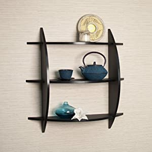 Three Tier Half Moon Shelf Unit in Black